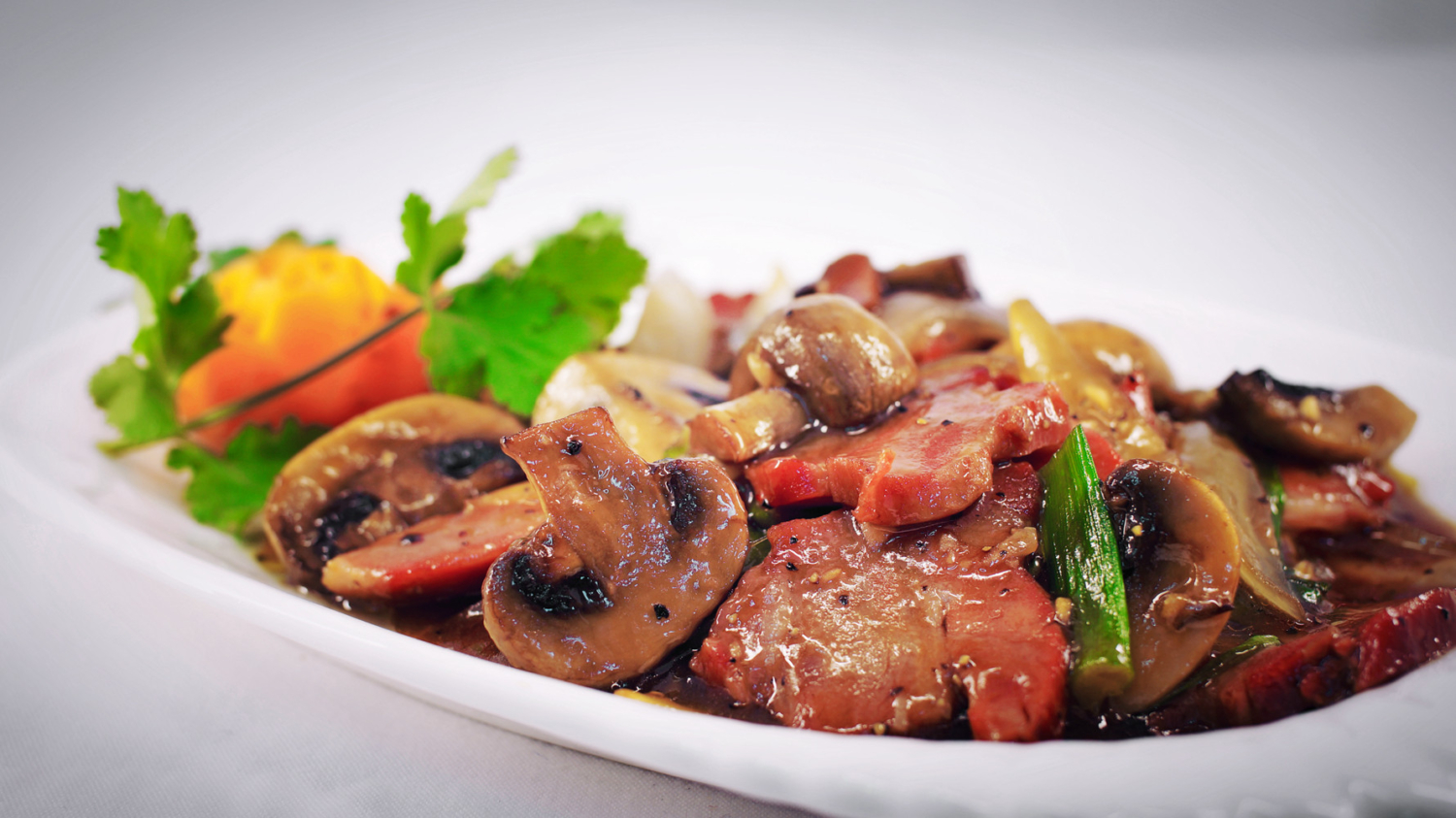 Char Siu(Roast Pork) with Mushroom & Black Pepper Sauce from Chinese Restaurant in Gosforth NE3 Newcastle upon Tyne